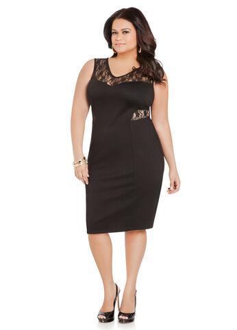 Lace Inset Sleeveless Dress