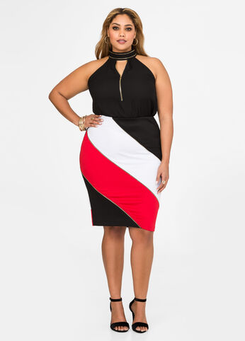 Multi Zip Colorblock Pencil Skirt