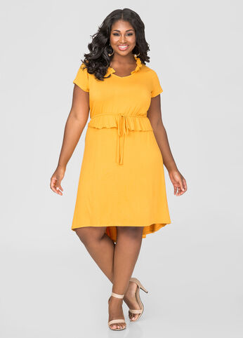 Ruffle Trim Hi-Lo Boho Dress