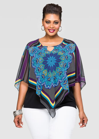 Printed Scarf Poncho Top