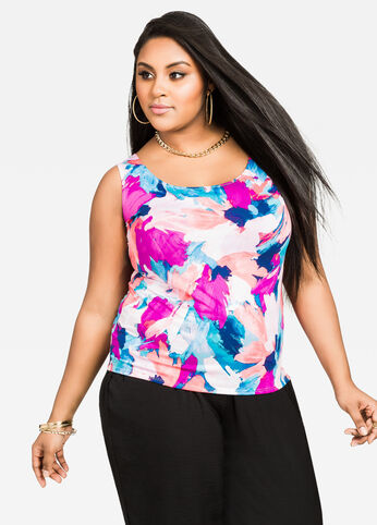 Painterly Floral Round Neck Tank