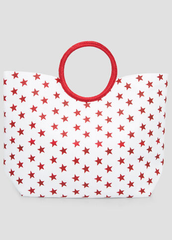 Large Star Straw Tote in Red