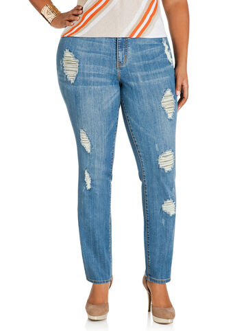 Lace Inset Distressed Jeans