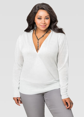 Metallic Surplice Sweater