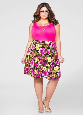 Pleated Floral Scuba Skirt