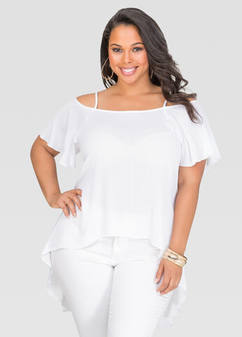 Split Back Cold Shoulder Top