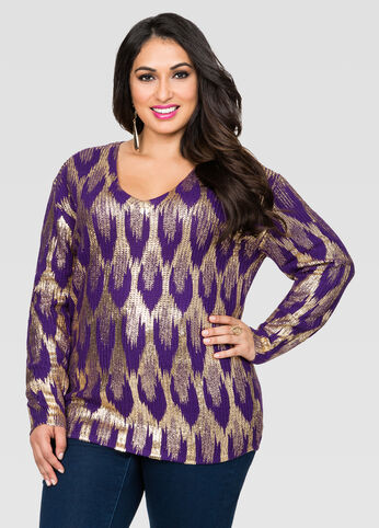 Foil HI-Lo V-Neck Sweater