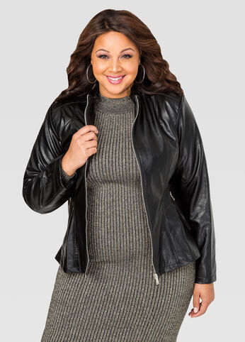 Mock Neck Faux Leather Jacket