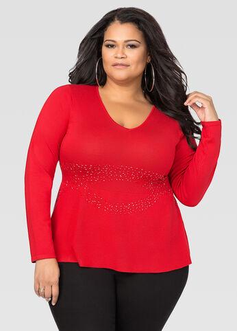 Beaded Waist Peplum Sweater