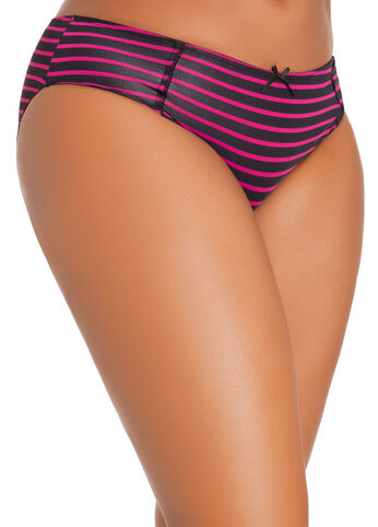 Striped Microfiber Hipster Panties