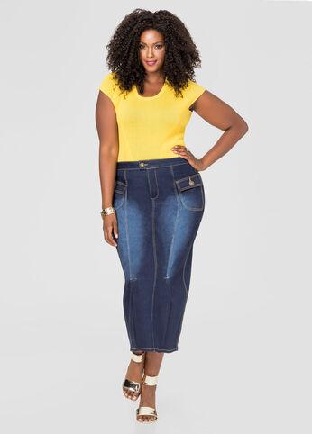 Patch Pocket Long Jean Skirt
