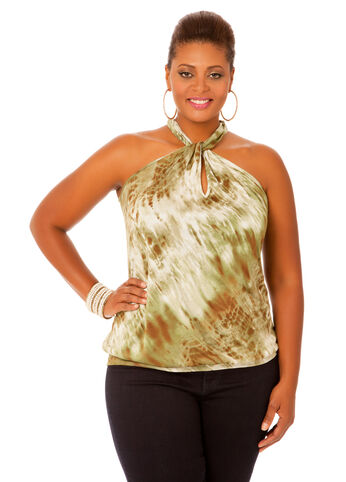 Banded Bottom Twist Neck Top