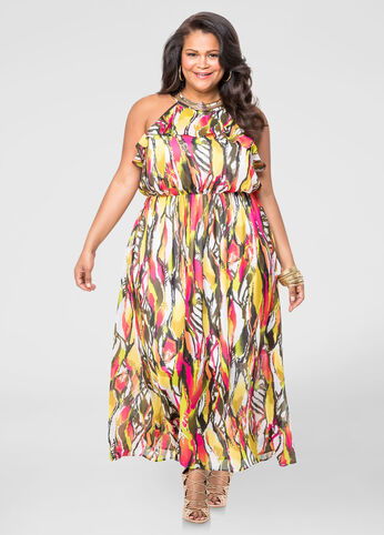 Necklace Halter Maxi Dress