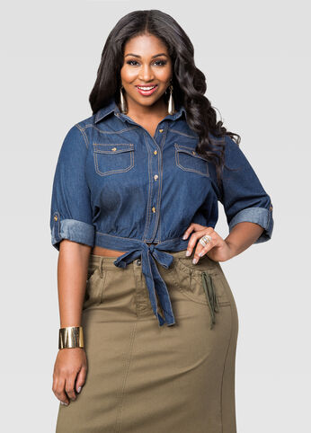Cropped Tie Front Denim Shirt
