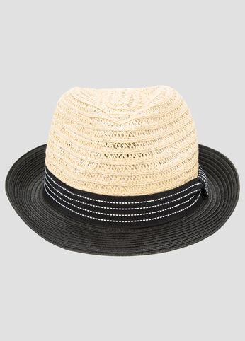 Colorblock Straw Fedora Hat