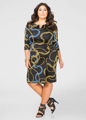 Ruched Chain Print Dress