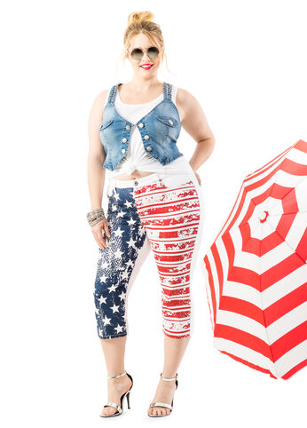 Braided Denim Vest with Stars and Stripes Capris