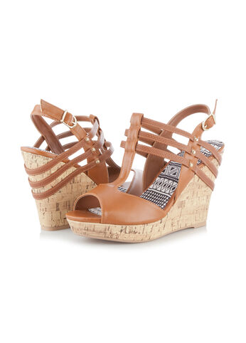 Peep Toe Straw Wedge Sandals