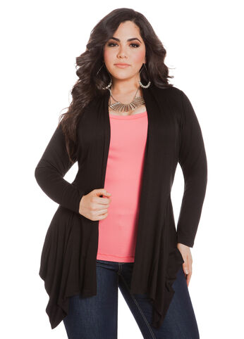Faux Leather Trim Cascade Cardigan