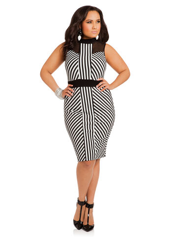 Black and White Striped Mock Turtleneck Dress