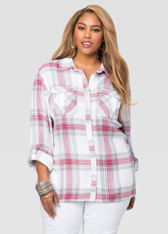Plaid Hi-Lo Boyfriend Shirt