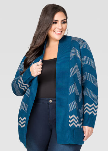 Open Front Chevron Cardigan