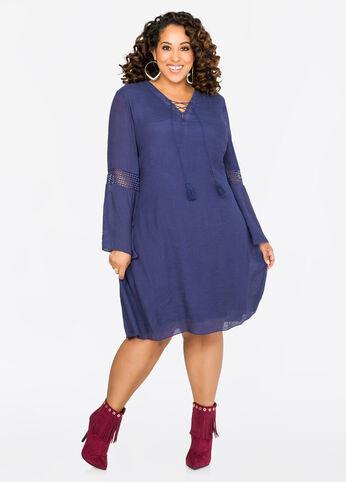 Crochet Inset Boho Dress