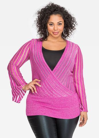 Surplice Metallic Stripe Sweater