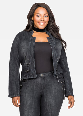 Black Rinse Lace-Up Detail Jean Jacket