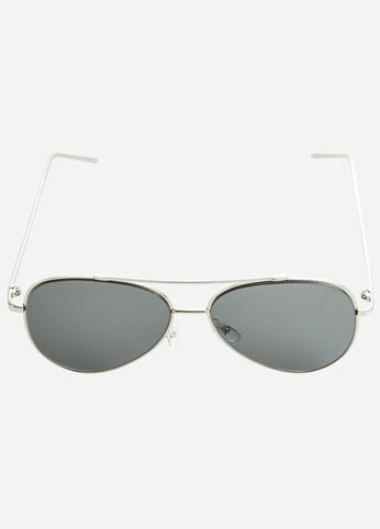 Silver Perfect Aviator Sunglasses