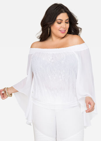 Lace Off-Shoulder Peasant Top