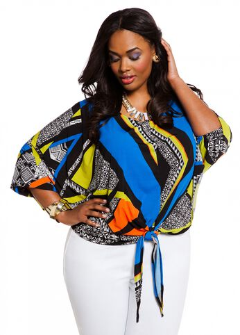 Web Exclusive: Abstract Print Tie Front Top