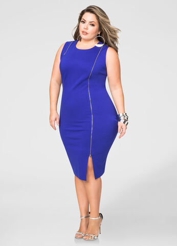 Zip Detail Ponti Sheath Dress