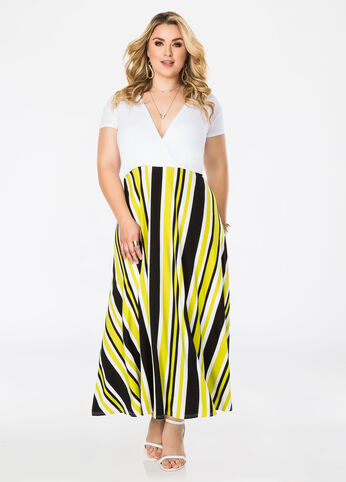Deep V-Neck Striped Maxi Dress