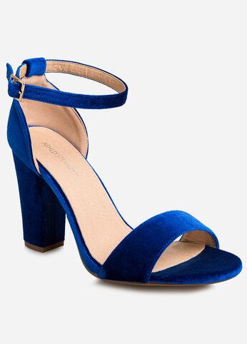 Velvet Chunky Heel Sandal - Wide Width