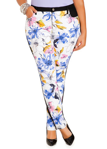 Floral Print Twill Jeans