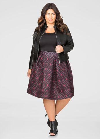 Geo Neoprene Box Pleat Skirt
