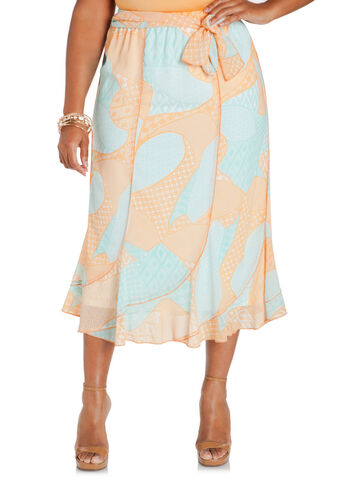 Mixed Geo Print Chiffon Skirt