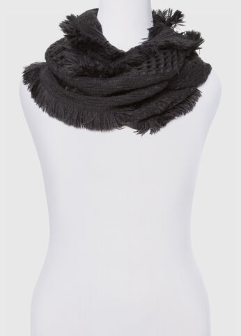 Raw Fringe Open Cable Infinity Scarf