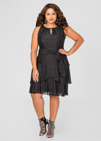 Tiered Metallic Special Occasion Dress Black - Dresses