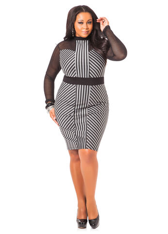 Long Sleeve Mock Neck Middi Dress
