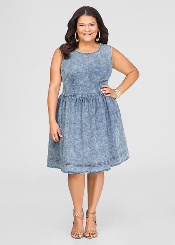 Lace-Up Back Denim Skater Dress