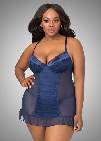 Mesh Chemise Lingerie Set plus size,  plus size fashion plus size appare
