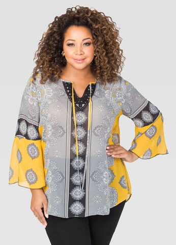 Printed Bell Sleeve Boho Top