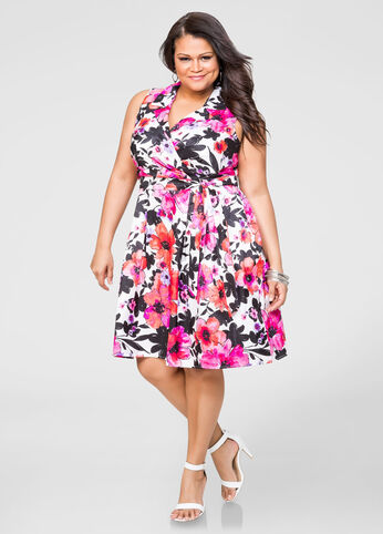 Floral Surplice Lapel Dress