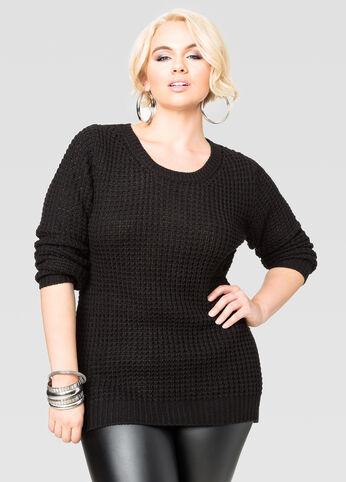 Long Sleeve Hi-Lo Shaker Sweater