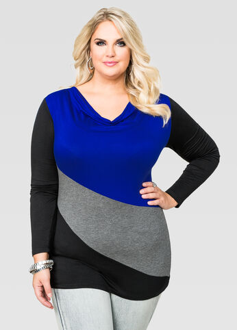 Drape Neck Colorblock Top