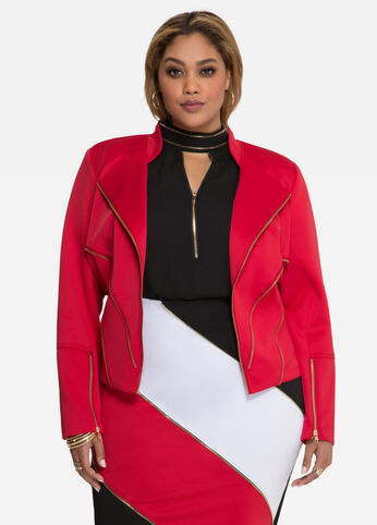 Multi Zip Scuba Moto Jacket