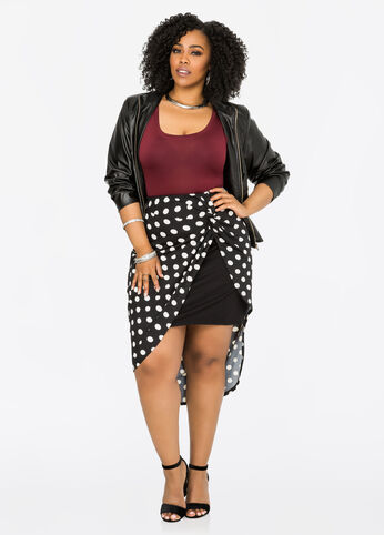Polka Dot Knot Waist Wrap Skirt