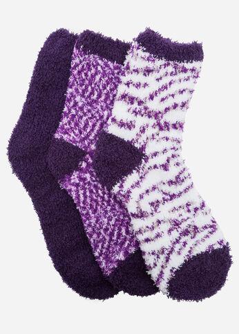 Zebra Marled 3-Pack Cozy Socks